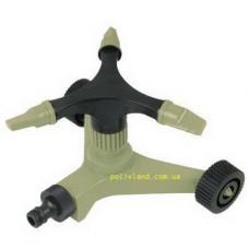Спринклер тройной роторный платформа на колесах (три регулируемые форсунки, пластик)