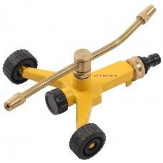 Спринклер двойной роторный платформа на колесах (две регулируемые форсунки, латунь)