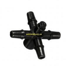 Адаптер четырехсторонний для микротрубки - 4 мм,  для систем капельного полива
